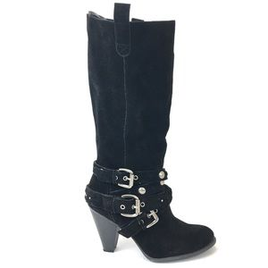 NINE WEST Black Suede Studded Strappy Knee Boots